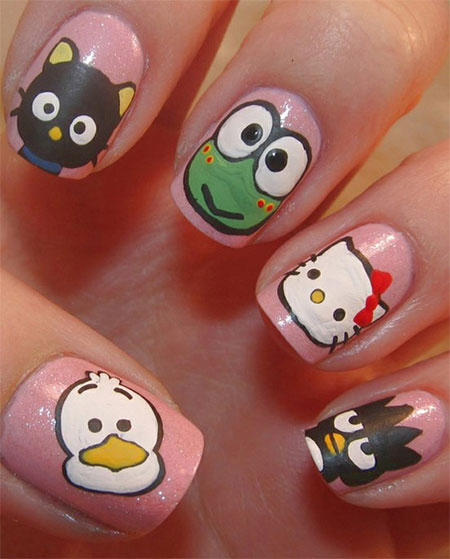 Cute & Simple Hello Kitty Nail Art Designs & Stickers