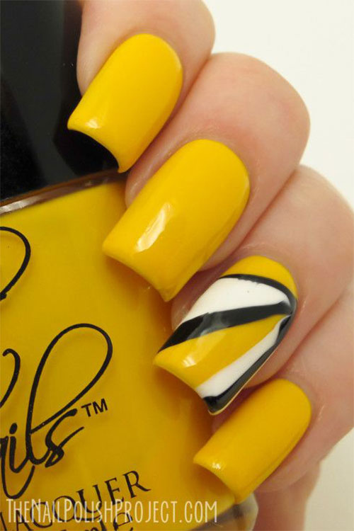 Simple Easy Yellow Nail Art Designs Ideas 2017