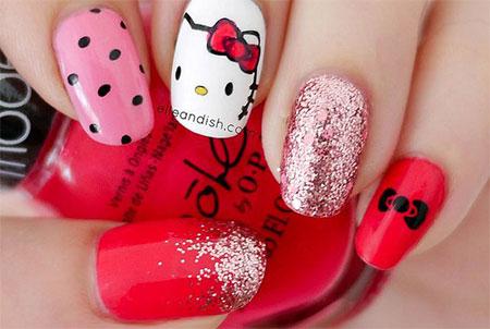 Cute O Kitty Nail Art Designs