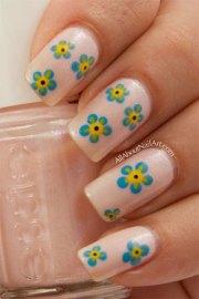 simple & easy flower nail art design