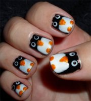 easy & cute penguin nail art design