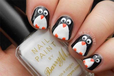 Easy Cute Penguin Nail Art Designs Ideas 2017
