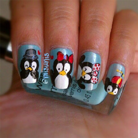 Cute Christmas Penguin Nail Art Stickers 2016