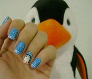 simple penguin nail art design
