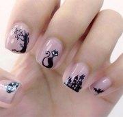 amazing black cat nail art design