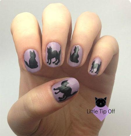Black Cat Face Nail Art For Short Nails