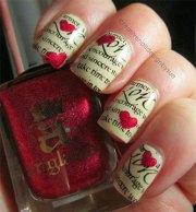amazing love letter nail art design