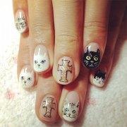 cute cat face nail art design