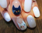 easy cat face nail art design