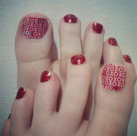 Cute Valentine S Day Toe Nail Art Designs Ideas 2014
