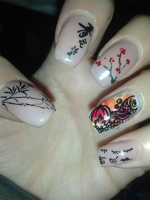 Chinese Doll Face Nail Art Design Idea