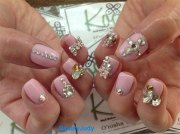 simple pink wedding nail art design