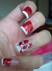 simple red wedding nail art design