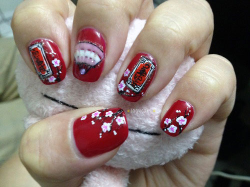 Chinese Symbol Flower Nail Art Designs