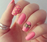cute pink summer nail art design
