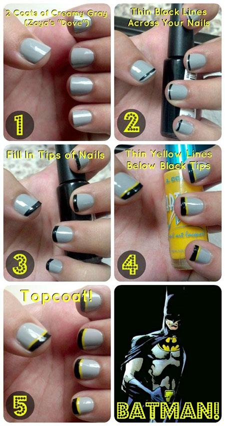 30 Easy Simple Batman Nail Art Designs Ideas