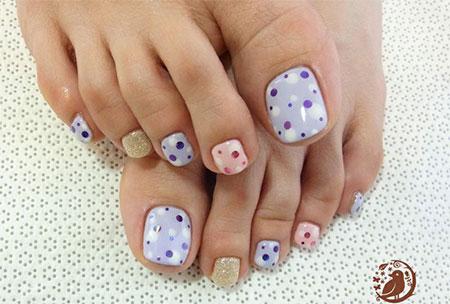 Hot Pink With Black Polka Dots Nail Art For Toe