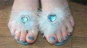 disney themed frozen toe nail art