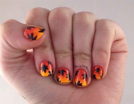 Painted Leaf Nail Art Design
