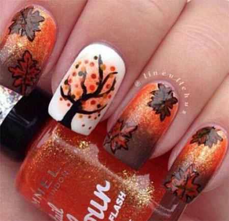 Golden Fall Leaves Nail Art Design