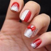 red nail art design