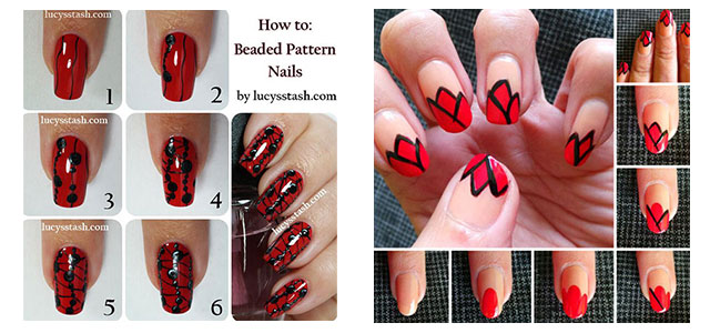 10 Easy Red Nail Art Tutorials For Beginners Learners 2017 Fabulous Designs