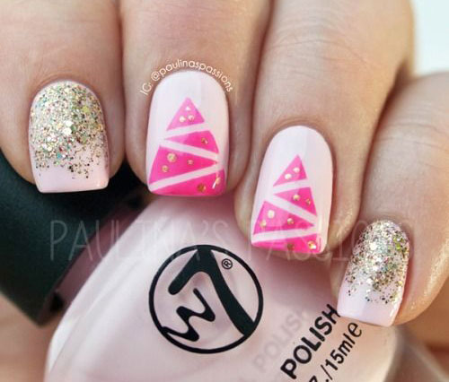 Christmas Light Nail Art Designs Ideas 2016