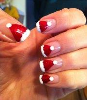 cute christmas hat nail art design