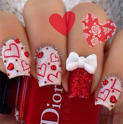 12 Best 3d Valentines Day Nail Art Designs Ideas Trends  Stickers 2015  Fabulous Nail Art
