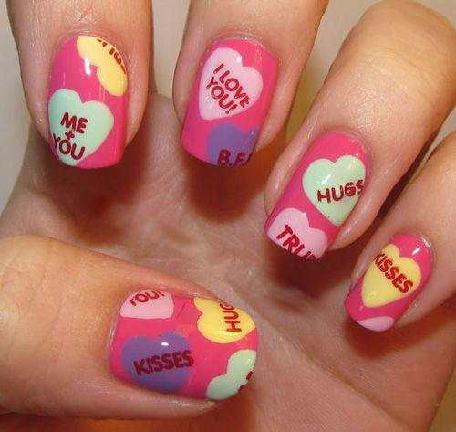 12 Valentines Candy Heart Nail Art Designs Ideas