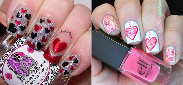18 Simple Red Heart Nail Art Designs Ideas
