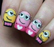 cute pink minion nail art design