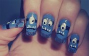 purple evil minion nail art design