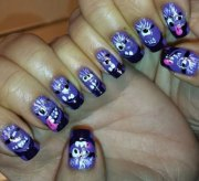 purple evil minion nail art design
