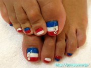 cute fourth of july toe nail