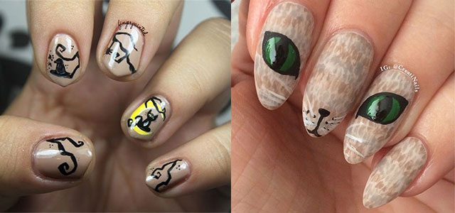 15+ Cute Halloween Themed Cat Nail Art Designs, Ideas