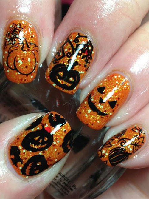 20 Halloween Pumpkin Nail Art Designs Ideas Trends  Stickers 2015  Fabulous Nail Art Designs