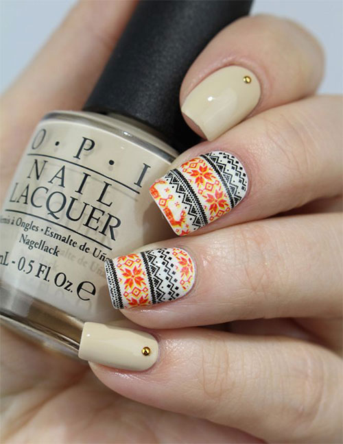 15 Ugly Christmas Sweater Nail Art Designs Ideas