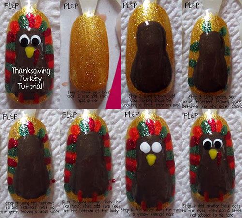 Easy Step By Thanksgiving Nail Art Tutorials