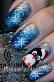 christmas penguin nail art design