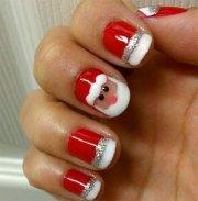 christmas santa face nail art design
