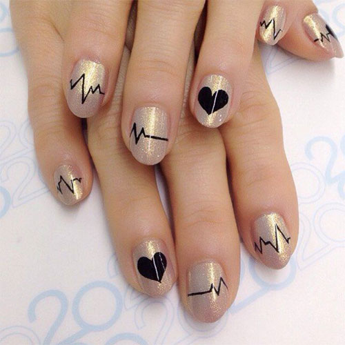 12 Valentines Day Heartbeat Nail Art Designs Ideas