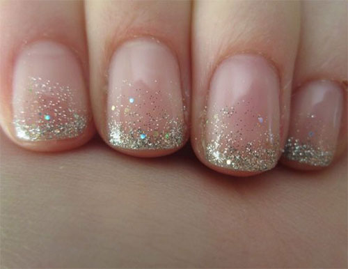 12 Gel French Tip Glitter Nail Art Designs
