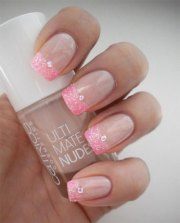gel french tip glitter nail