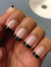 french black gel nail art design