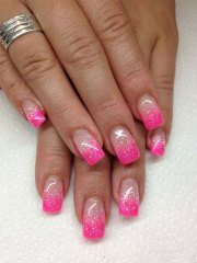 gel french pink nail art design