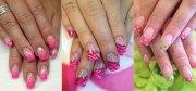 gel french pink nail art design