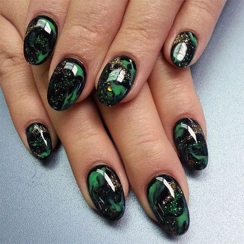 10 Black Green Gel Nail Art Designs Ideas 2016