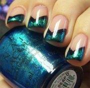 black & green gel nail art design