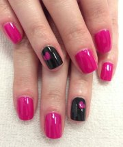 black & pink gel nail art design